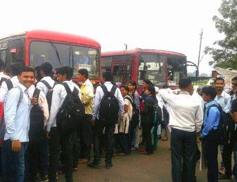 students agitation irregular bus trips dugaon phata girnare nashik